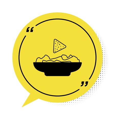 Black Nachos in plate icon isolated on white background. Tortilla chips or nachos tortillas. Traditional mexican fast food. Yellow speech bubble symbol. Vector Illustration Illusztráció