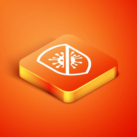 Isometric Stop virus, bacteria, germs and microbe icon isolated on orange background. Antibacterial and antiviral defence, protection infection. Vector Illustration