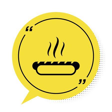 Black Hotdog sandwich with mustard icon isolated on white background. Sausage icon. Fast food sign. Yellow speech bubble symbol. Vector Illustration Illusztráció
