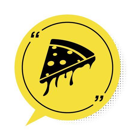 Black Slice of pizza icon isolated on white background. Yellow speech bubble symbol. Vector Illustration Illusztráció