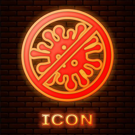 Glowing neon Stop virus, bacteria, germs and microbe icon isolated on brick wall background. Antibacterial and antiviral defence, protection infection. Vector Illustration Illusztráció