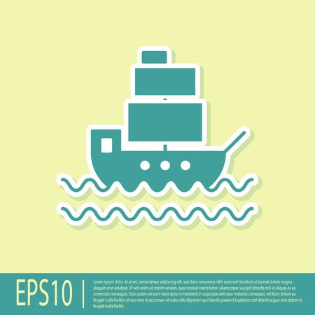 Green Ship icon isolated on yellow background. Vector Illustration