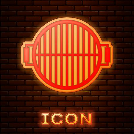 Glowing neon Barbecue grill icon isolated on brick wall background. Top view of BBQ grill. Steel grid. Vector Illustration Illusztráció