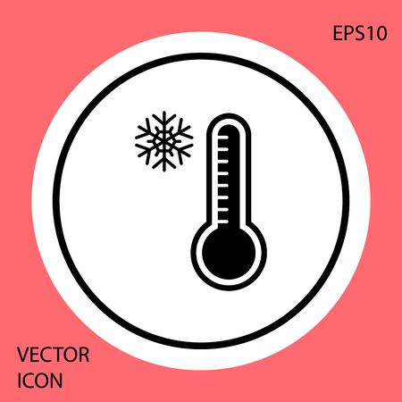 Black Meteorology thermometer measuring heat and cold icon isolated on red background. Thermometer equipment showing hot or cold weather. White circle button. Vector Illustration Illusztráció