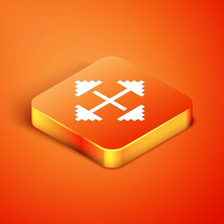 Isometric Pixel arrows in four directions icon isolated on orange background. Cursor move sign. Vector Illustration