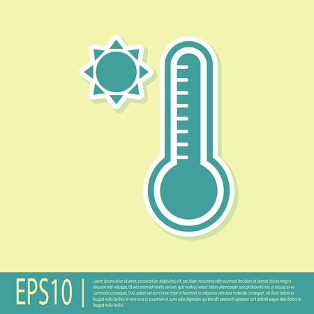 Green Meteorology thermometer measuring heat and cold icon isolated on yellow background. Thermometer equipment showing hot or cold weather. Vector Illustration Illusztráció