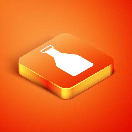 Isometric Ketchup bottle icon isolated on orange background. Vector Illustration
