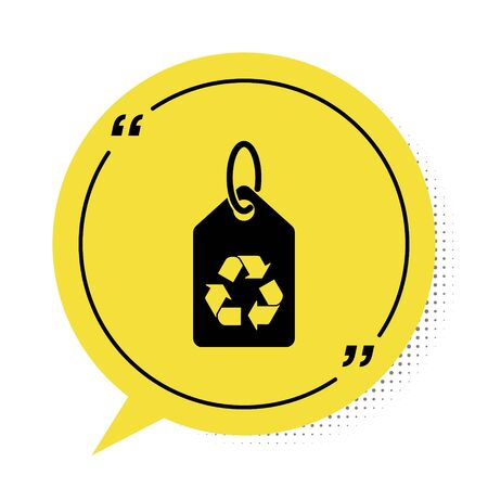 Black Tag with recycle symbol icon isolated on white background.