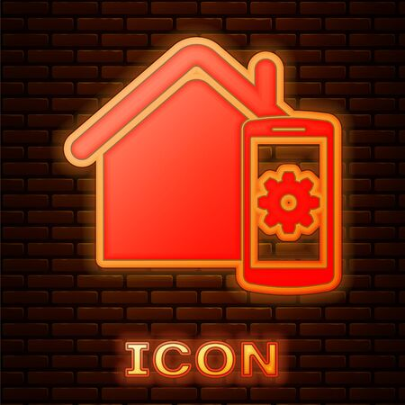 Glowing neon Smart home - remote control system icon isolated on brick wall background. Vector Illustration Illusztráció