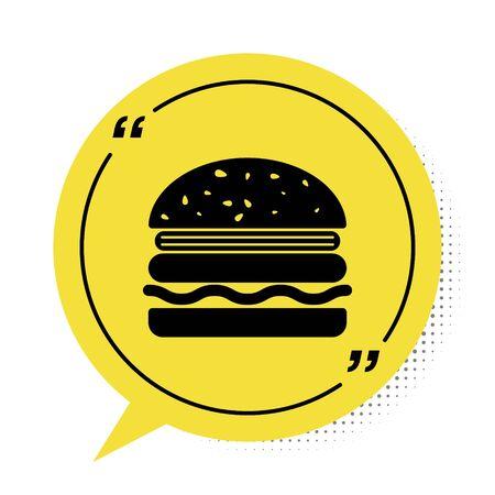 Black Burger icon isolated on white background. Hamburger icon. Cheeseburger sandwich sign. Yellow speech bubble symbol. Vector Illustration