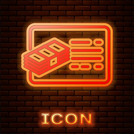 Glowing neon Financial document line icon isolated on brick wall background. Invoice and money icon. Budget planning, money saving and paying debt concept. Vector Illustration