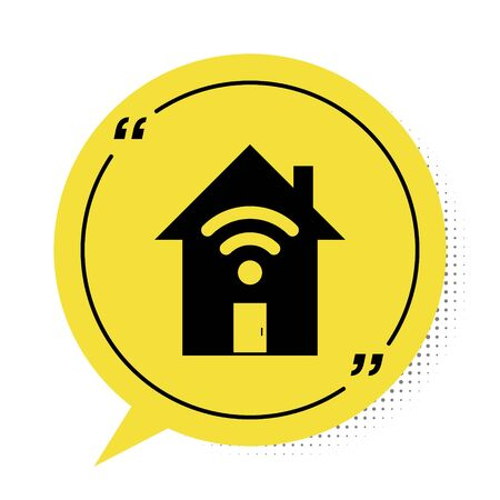 Black Smart home with wifi icon isolated on white background. Remote control. Yellow speech bubble symbol. Vector Illustration