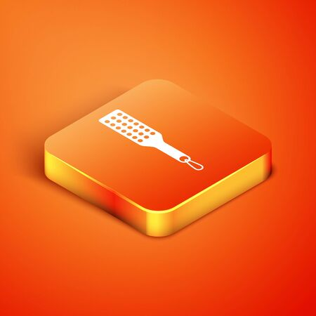Isometric Spanking paddle icon isolated on orange background. Fetish accessory. Sex toy for adult. Vector Illustration Vectores