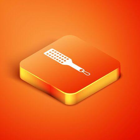 Isometric Spanking paddle icon isolated on orange background. Fetish accessory. Sex toy for adult. Vector Illustration Illustration