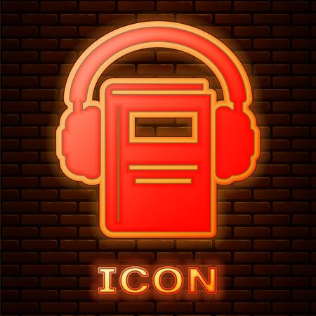 Glowing neon Audio book icon isolated on brick wall background. Book with headphones. Audio guide sign. Online learning concept. Vector Illustration 版權商用圖片 - 134895726
