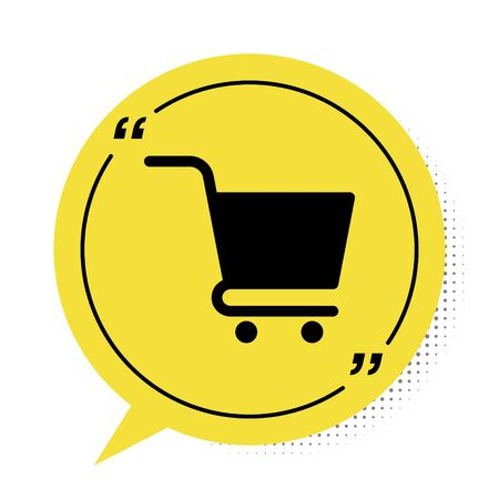Black Shopping cart icon isolated on white background. Online buying concept. Delivery service sign. Supermarket basket symbol. Yellow speech bubble symbol. Vector Illustration
