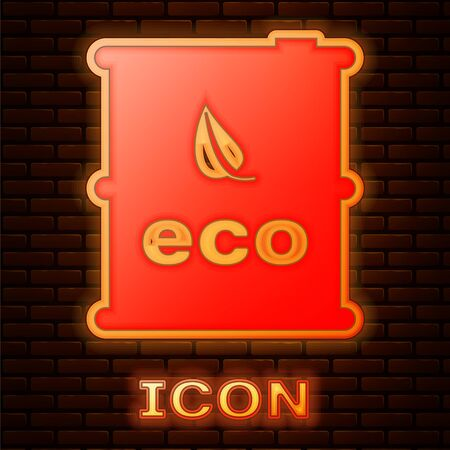 Glowing neon Bio fuel barrel icon isolated on brick wall background. Eco bio and canister. Green environment and recycle. Vector Illustration