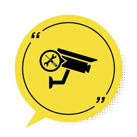 Black Security camera with screwdriver and wrench icon isolated on white background. Adjusting, service, setting, maintenance, repair, fixing. Yellow speech bubble symbol. Vector Illustration