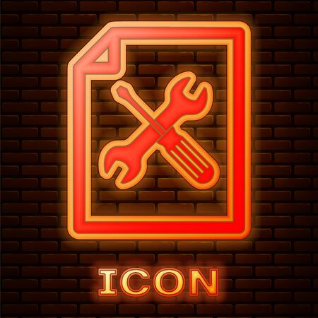 Glowing neon File document with screwdriver and wrench icon isolated on brick wall background. Adjusting, service, setting, maintenance, repair, fixing. Vector Illustration Çizim