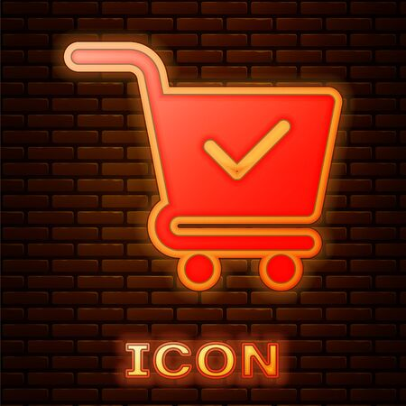 Glowing neon Shopping cart with check mark icon isolated on brick wall background. Supermarket basket with approved, confirm, done, tick, completed symbol. Vector Illustration