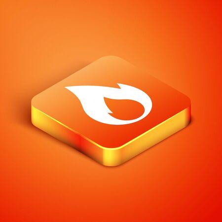 Isometric Fire flame icon isolated on orange background. Heat symbol. Vector Illustration Illusztráció