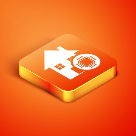 Isometric Smart home icon isolated on orange background. Remote control. Vector Illustration