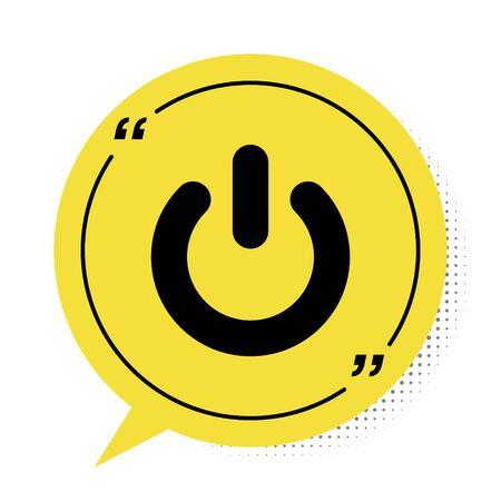 Black Power button icon isolated on white background. Start sign. Yellow speech bubble symbol. Vector Illustration Illusztráció