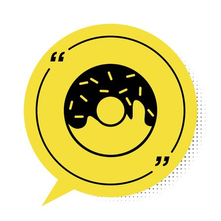Black Donut with sweet glaze icon isolated on white background. Yellow speech bubble symbol. Vector Illustration
