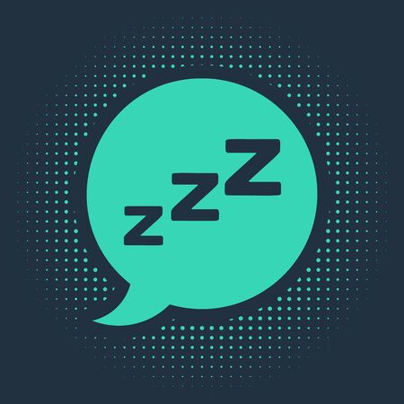 Green Speech bubble with snoring icon isolated on blue background. Concept of sleeping, insomnia, alarm clock app, deep sleep, awakening. Abstract circle random dots. Vector Illustration  イラスト・ベクター素材
