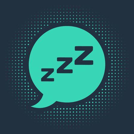 Green Speech bubble with snoring icon isolated on blue background. Concept of sleeping, insomnia, alarm clock app, deep sleep, awakening. Abstract circle random dots. Vector Illustration Illustration
