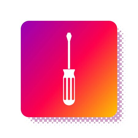 White Screwdriver icon isolated on white background. Service tool symbol. Square color button. Vector Illustration  イラスト・ベクター素材