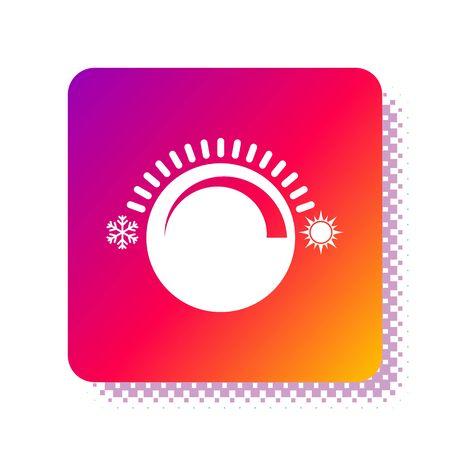 White Thermostat icon isolated on white background. Temperature control. Square color button. Vector Illustration