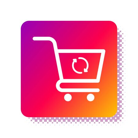 White Refresh shopping cart icon isolated on white background. Online buying concept. Delivery service sign. Update supermarket basket symbol. Square color button. Vector Illustration