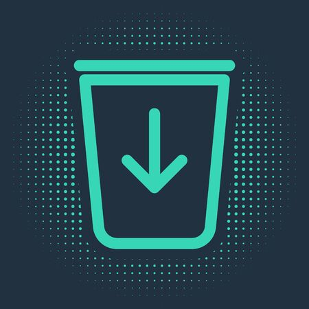 Green Send to the trash line icon isolated on blue background. Abstract circle random dots. Vector Illustration