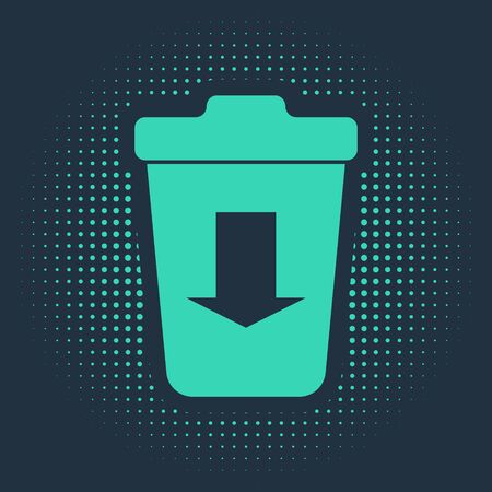 Green Send to the trash icon isolated on blue background. Abstract circle random dots. Vector Illustration Illusztráció
