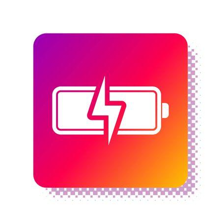 White Battery icon isolated on white background. Lightning bolt symbol. Square color button. Vector Illustration Ilustração