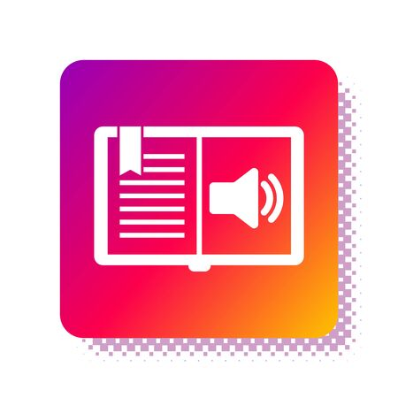 White Audio book icon isolated on white background. Audio guide sign. Online learning concept. Square color button. Vector Illustration
