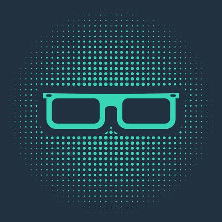 Green Glasses icon isolated on blue background. Eyeglass frame symbol. Abstract circle random dots. Vector Illustration