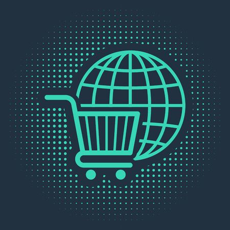 Green Shopping cart with globe icon isolated on blue background. Online buying concept. Global market concept. Supermarket basket symbol. Abstract circle random dots. Vector Illustration 向量圖像