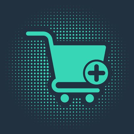 Green Add to Shopping cart icon isolated on blue background. Online buying concept. Delivery service sign. Supermarket basket symbol. Abstract circle random dots. Vector Illustration