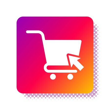 White Shopping cart with cursor icon isolated on white background. Online buying concept. Delivery service sign. Supermarket basket symbol. Square color button. Vector Illustration