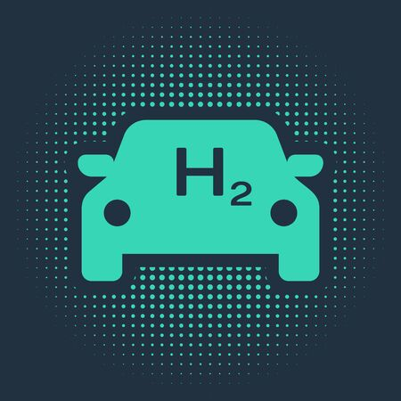 Green Hydrogen car icon isolated on blue background. H2 station sign. Hydrogen fuel cell car eco environment friendly zero emission. Abstract circle random dots. Vector Illustration