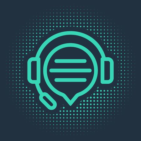 Green Headphones with speech bubble chat icon isolated on blue background. Support customer service, hotline, call center, faq, maintenance. Abstract circle random dots. Vector Illustration