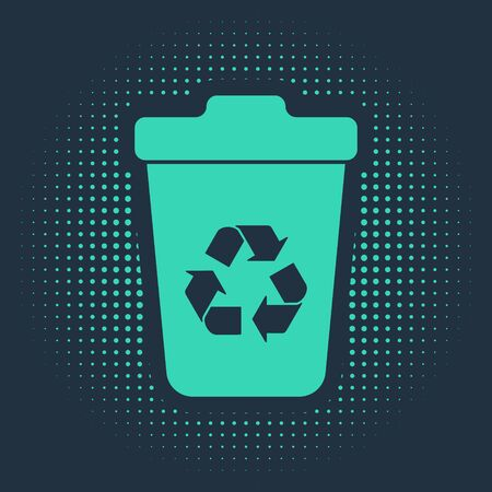 Green Recycle bin with recycle symbol icon isolated on blue background. Trash can icon. Garbage bin sign. Recycle basket sign. Abstract circle random dots. Vector Illustration