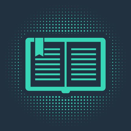 Green Open book icon isolated on blue background. Abstract circle random dots. Vector Illustration 向量圖像