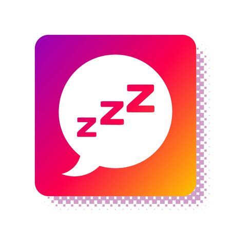 White Speech bubble with snoring icon isolated on white background. Concept of sleeping, insomnia, alarm clock app, deep sleep, awakening. Square color button. Vector Illustration