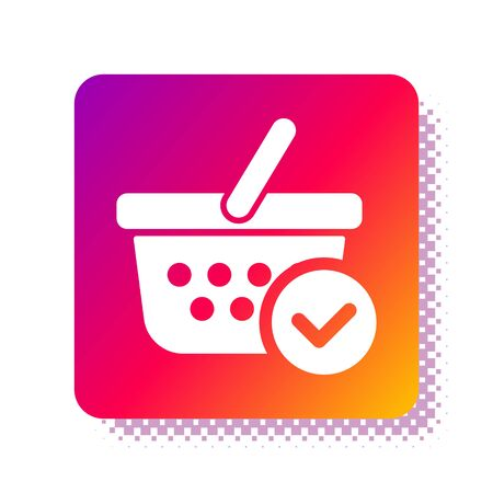 White Shopping basket with check mark icon isolated on white background. Supermarket basket with approved, confirm, tick, completed symbol. Square color button. Vector Illustration 向量圖像