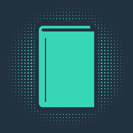 Green Book icon isolated on blue background. Abstract circle random dots. Vector Illustration