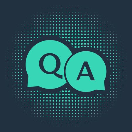 Green Speech bubbles with Question and Answer icon isolated on blue background. Q and A symbol. FAQ sign. Chat speech bubble and chart. Abstract circle random dots. Vector Illustration