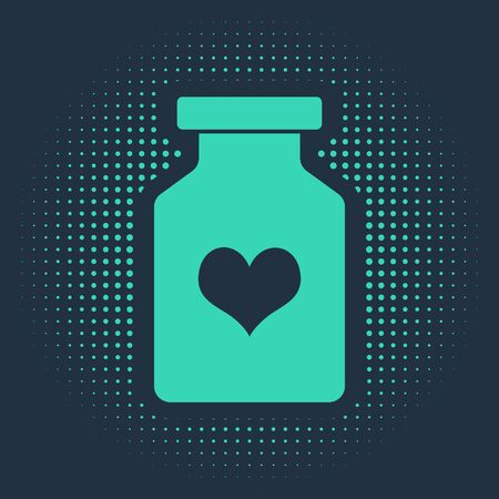 Green Medicine bottle with pills for potency, aphrodisiac icon isolated on blue background. Sex pills for men and women. Abstract circle random dots. Vector Illustration